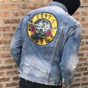Gun's & Roses denim distressed jacket